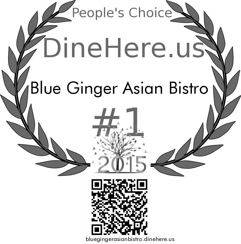 Blue Ginger Asian Bistro DineHere.us 2015 Award Winner