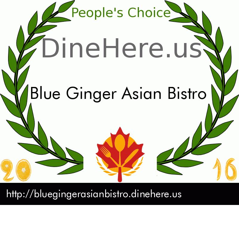 Blue Ginger Asian Bistro DineHere.us 2016 Award Winner
